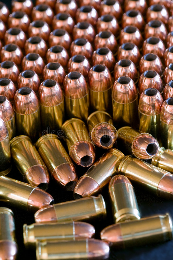 Rows of hollow point bullets - Ammunition royalty free stock photos