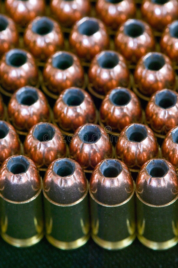 Rows of hollow point bullets - Ammunition royalty free stock images