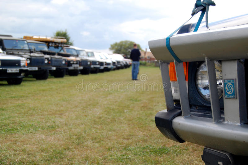 Rows of Land Rovers - Dunsfold Collection 2009 royalty free stock image