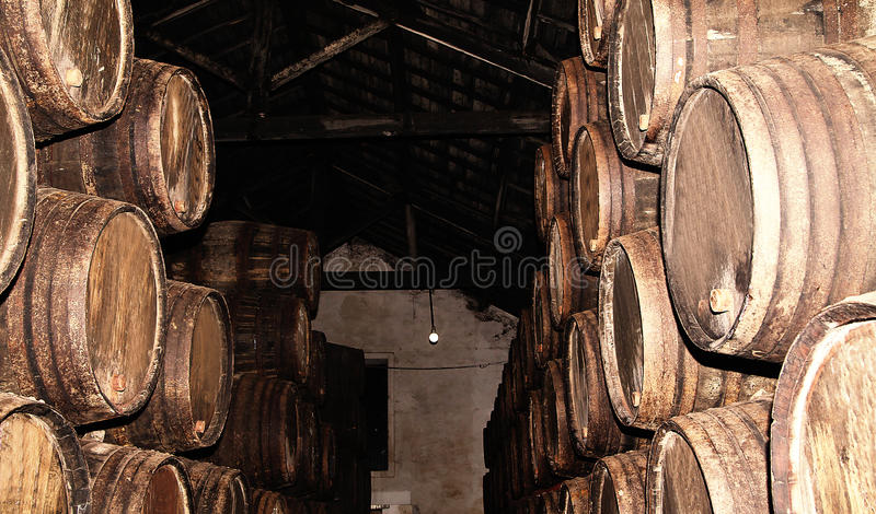 Download Rows Of Large Oak Barrels In A Dark Cellar. Plant For The Produc Stock Photo - Image: 83711848