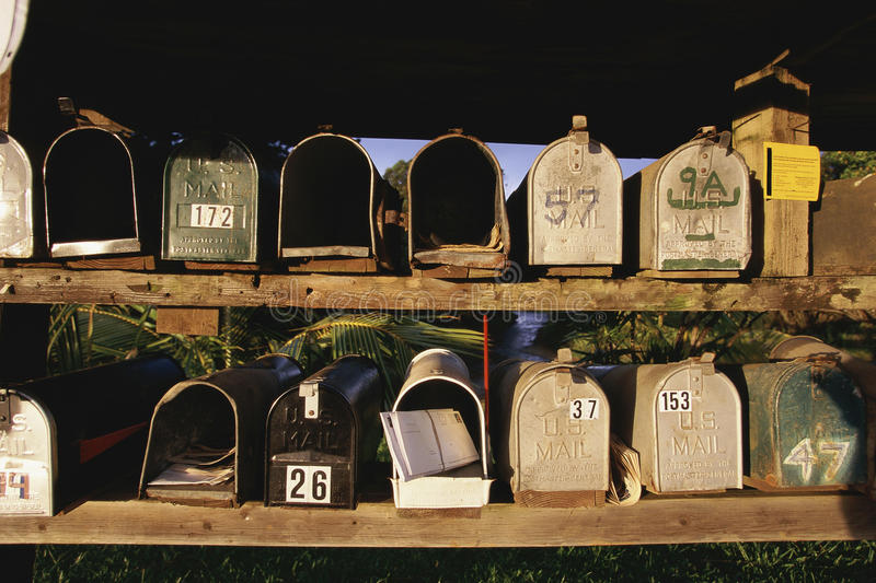 Rows of mailboxes stock photography