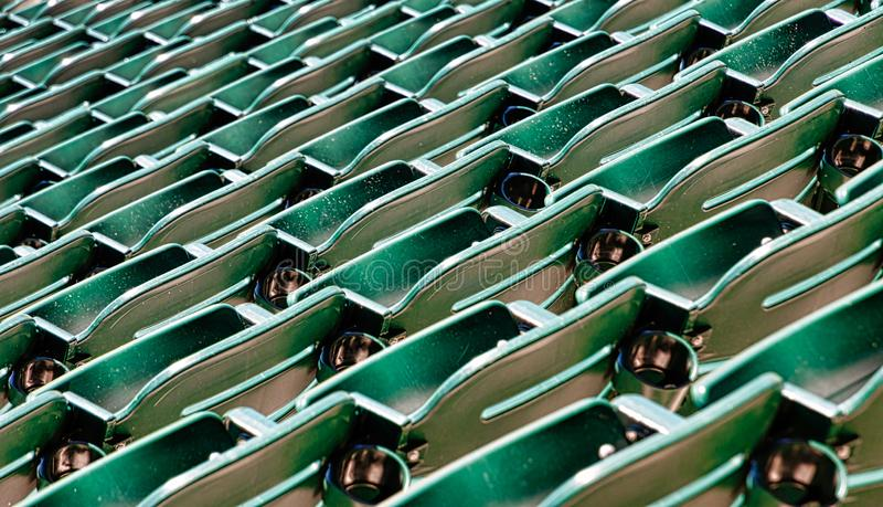 Row of Green Seats in Stadium. Rows of Many Green Seats in a stadium royalty free stock photo