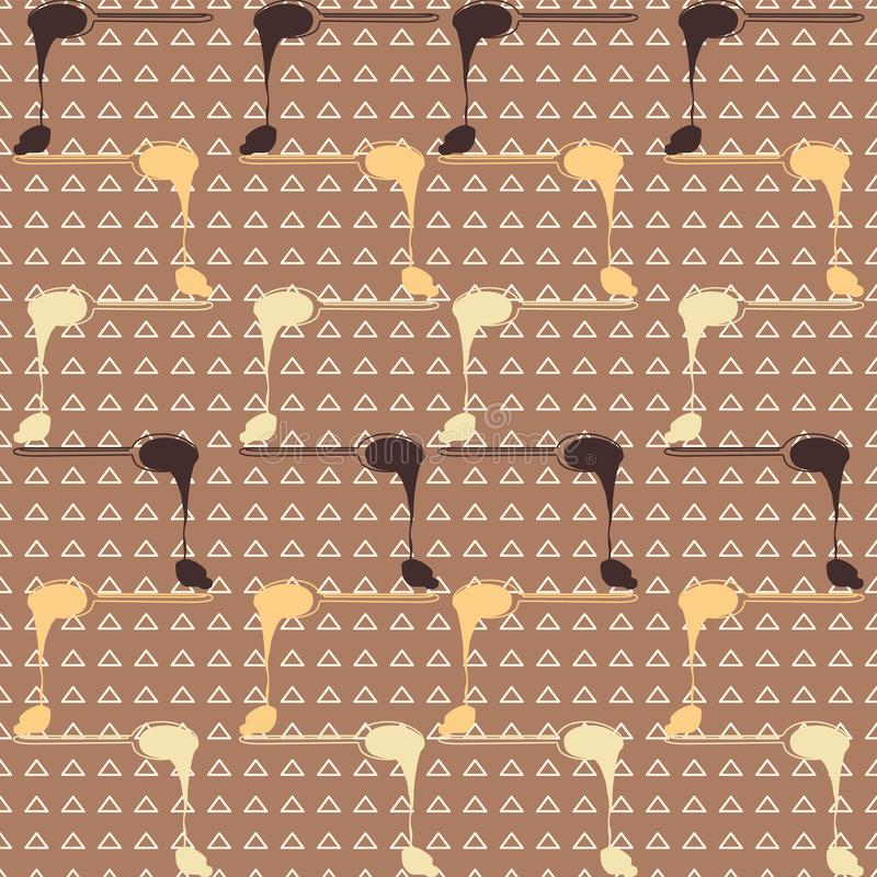 Rows of melting chocolate spoons on triangle background. Seamles vector pattern stock illustration