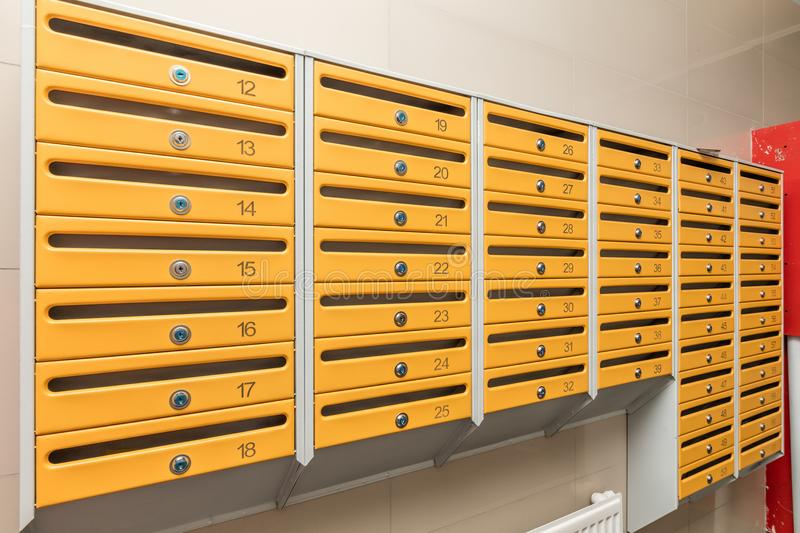 Rows of metal mailboxes royalty free stock photo