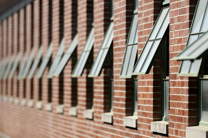 Rows of open windows. Of the horse stables at the Illinois State Fair in Springfield, Illinois royalty free stock photos