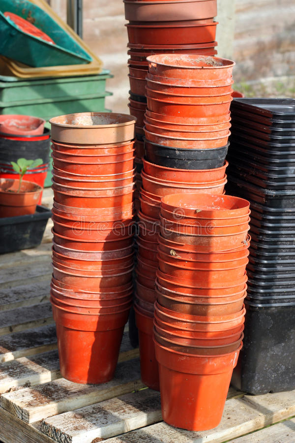 Download Rows Of Plant Pots In Greenhouse. Stock Photos - Image: 23854603