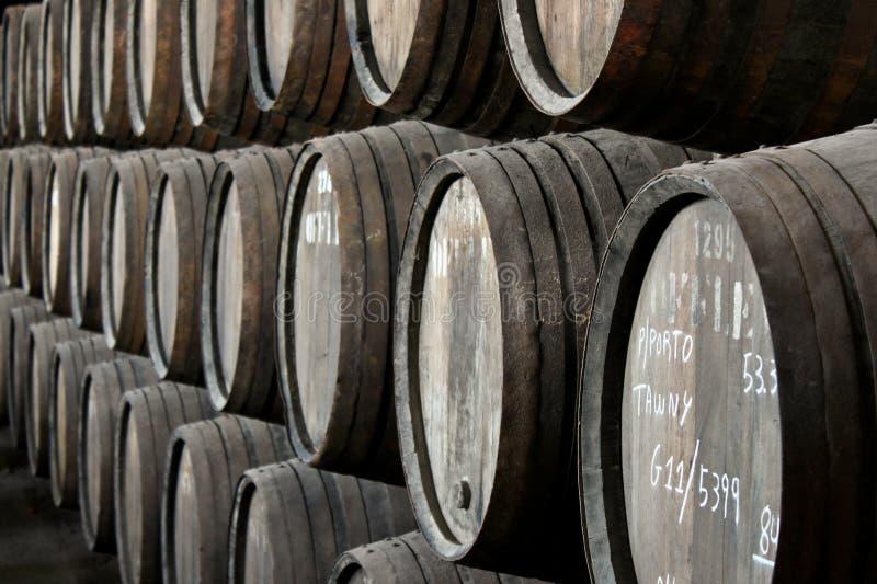 Rows Of Porto Wine Barrels Royalty Free Stock Photo