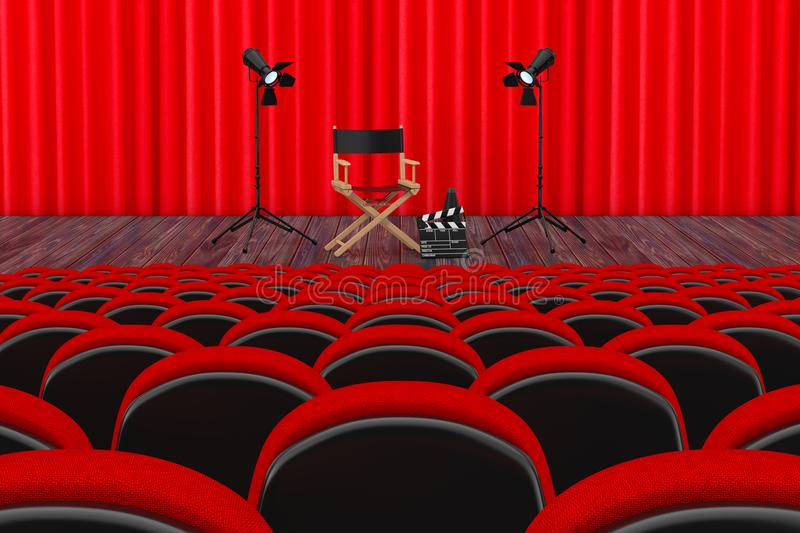 Rows of Red Cinema or Theater Seats in front of Cinema or Theater Scene with Red Curtain and Director Chair, Movie Clapper and Sp vector illustration