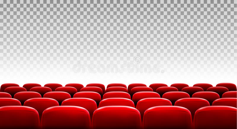 Rows of red cinema or theater seats stock illustration