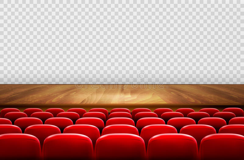 Rows of red cinema or theater seats in front stock illustration