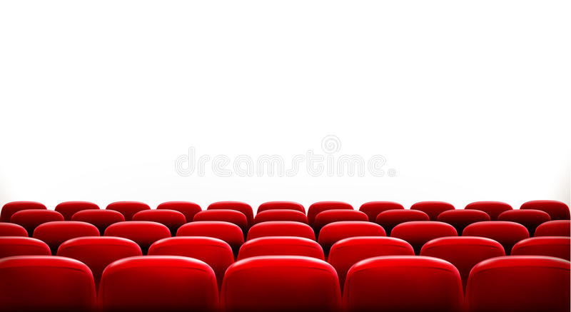 Rows of red cinema or theater seats vector illustration