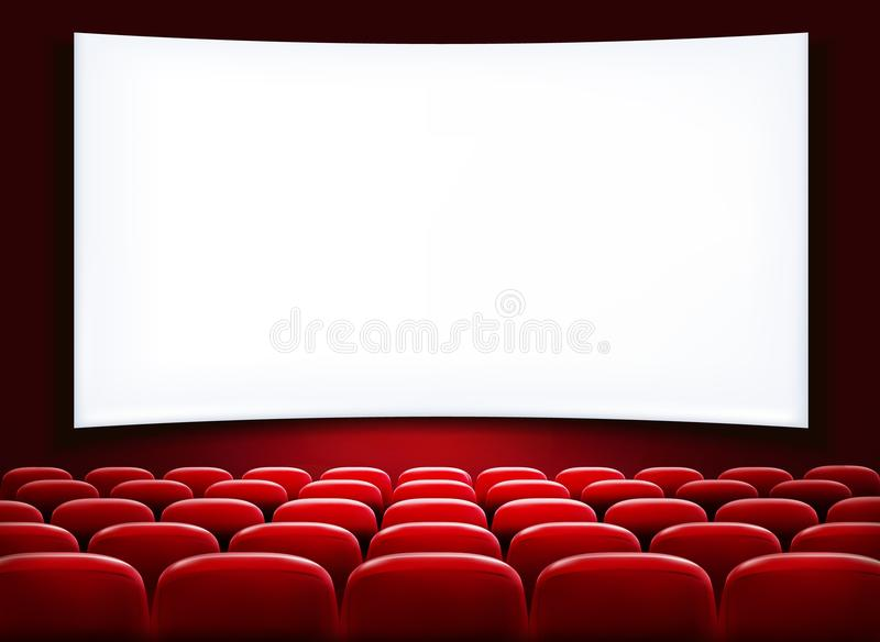 Rows of red cinema or theater seats royalty free illustration