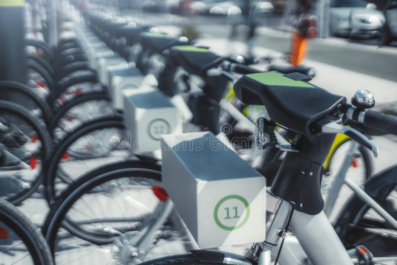 Rows of rental bicycles outdoors royalty free stock photos