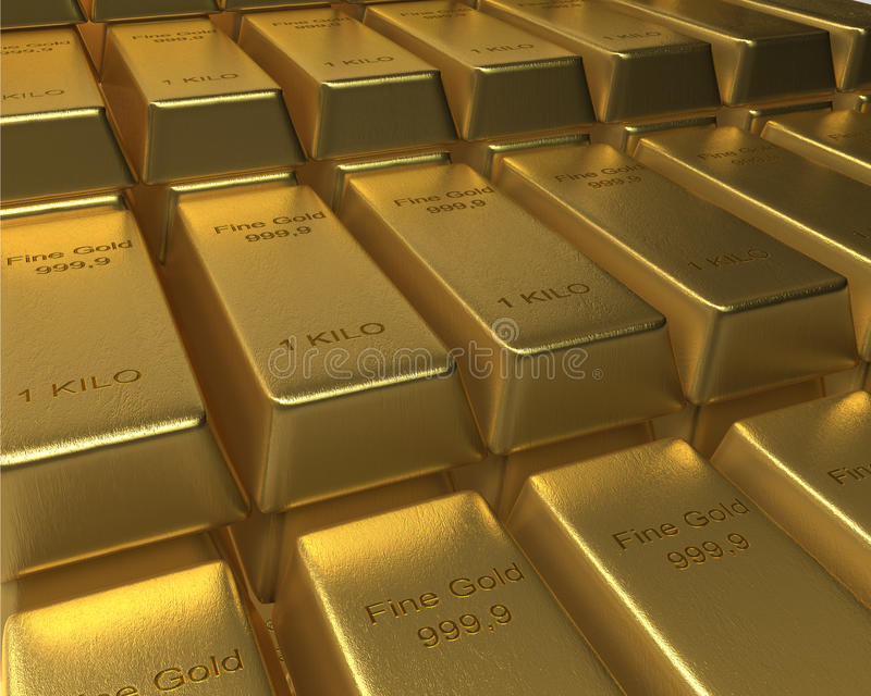 Download Rows And Rows Of Stacked Gold Bars Stock Illustration - Image: 35298787