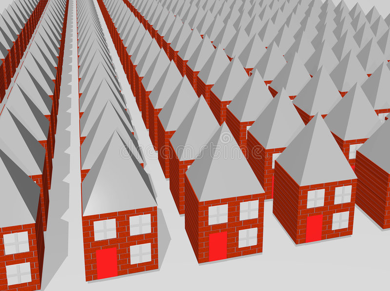 rows of same houses vector illustration