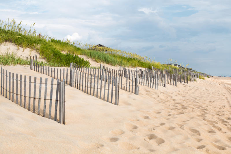 Rows of Sand Fences at Nags Head, North Carolina. Rows of sand fences line the beach in Nags Head, North Carolina on the Outer Banks royalty free stock photo