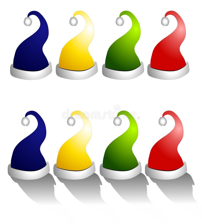 Rows of Santa Claus Hats Isolated. A clip art illustration of your choice of Santa Claus Christmas Hats in red, green, yrlloe and blue. Top row is plain and stock illustration