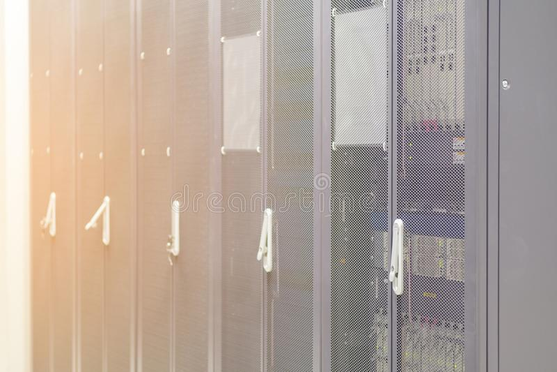 Rows of server hardware box Server Rack in the data center Serve stock image