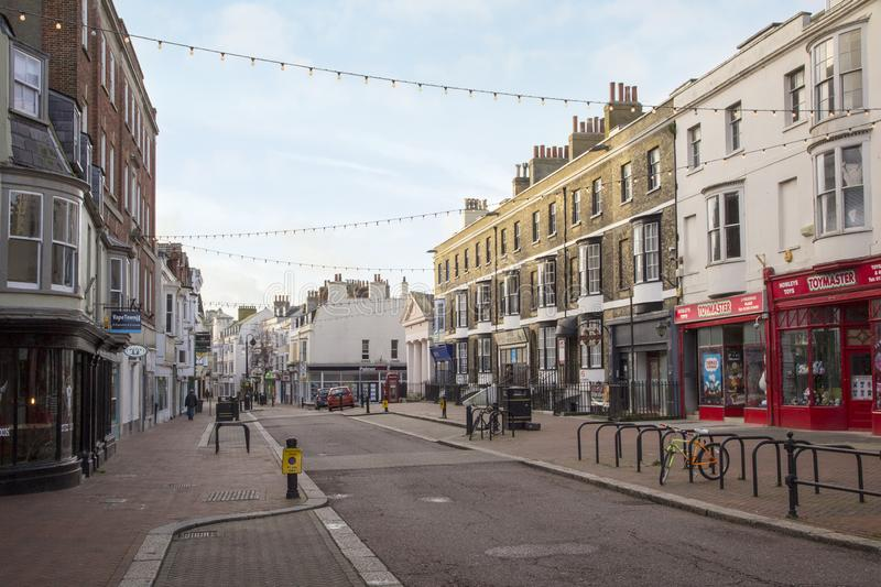 Rows of shops in town centre, Weymouth, Dorset, England, UK, December 26, 2017 royalty free stock photo