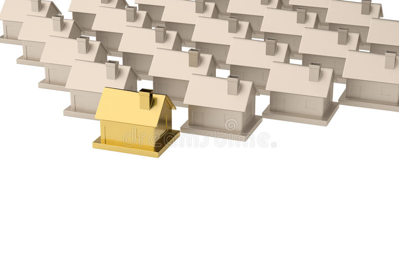 Rows of silver houses with one golden house isolated on white ba vector illustration