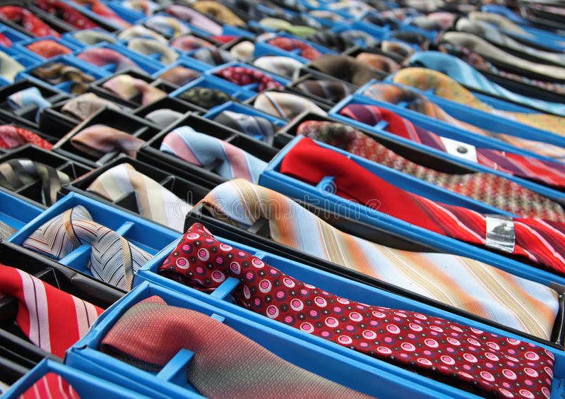 Rows of Ties. Lots of ties with different styles, patterns and colors stock images