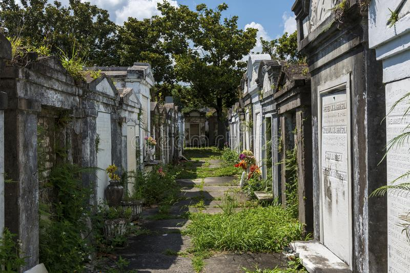 Rows of tombs at the Lafayette Cemetery No. 1 in the city of New Orleans, Louisiana royalty free stock photography