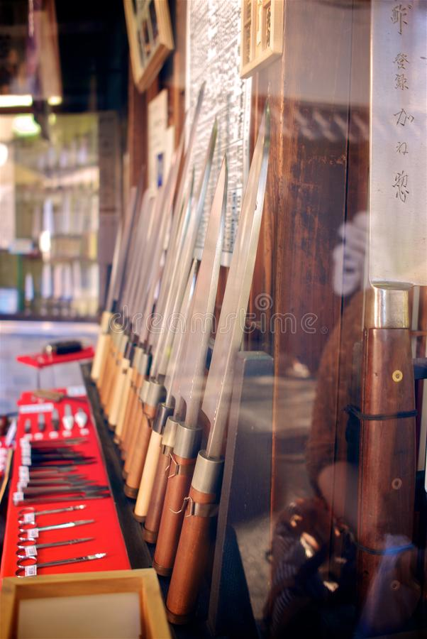 Rows of traditional hand made knife for sale in Tokyo. royalty free stock photos