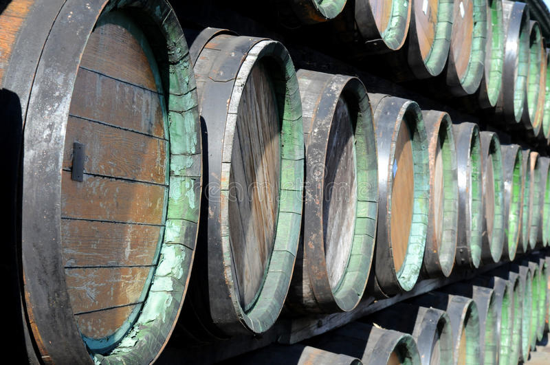 Rows of wine woods. Woods are stacked up. Such woods are used in Europe for Slivovitsa storage stock photo