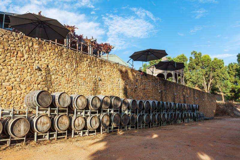 Rows of wooden wine barrels in vineyard in Australia. royalty free stock photo