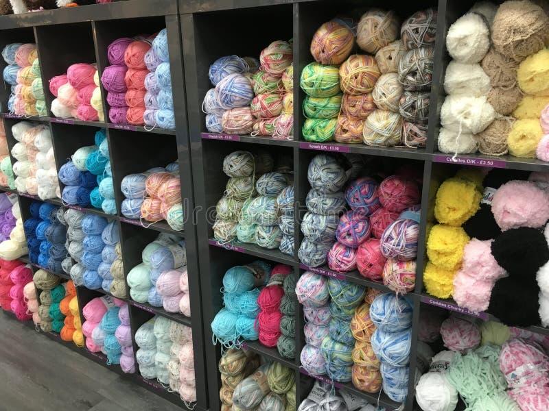 Rows of wool yarn royalty free stock photos