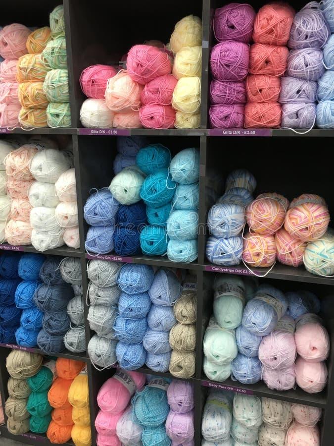 Rows of wool yarn stock photo
