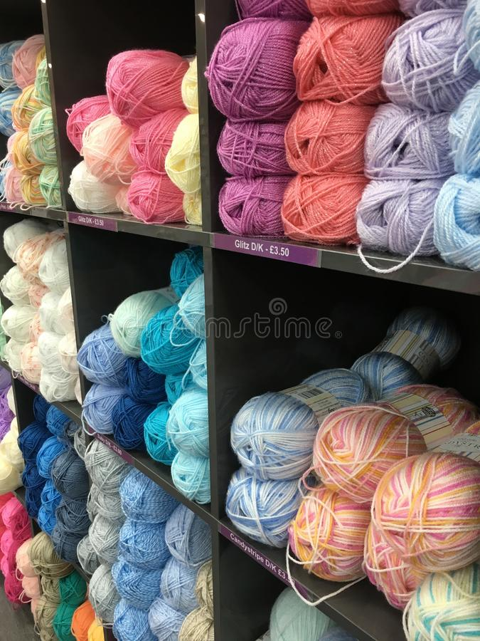 Rows of wool yarn royalty free stock images