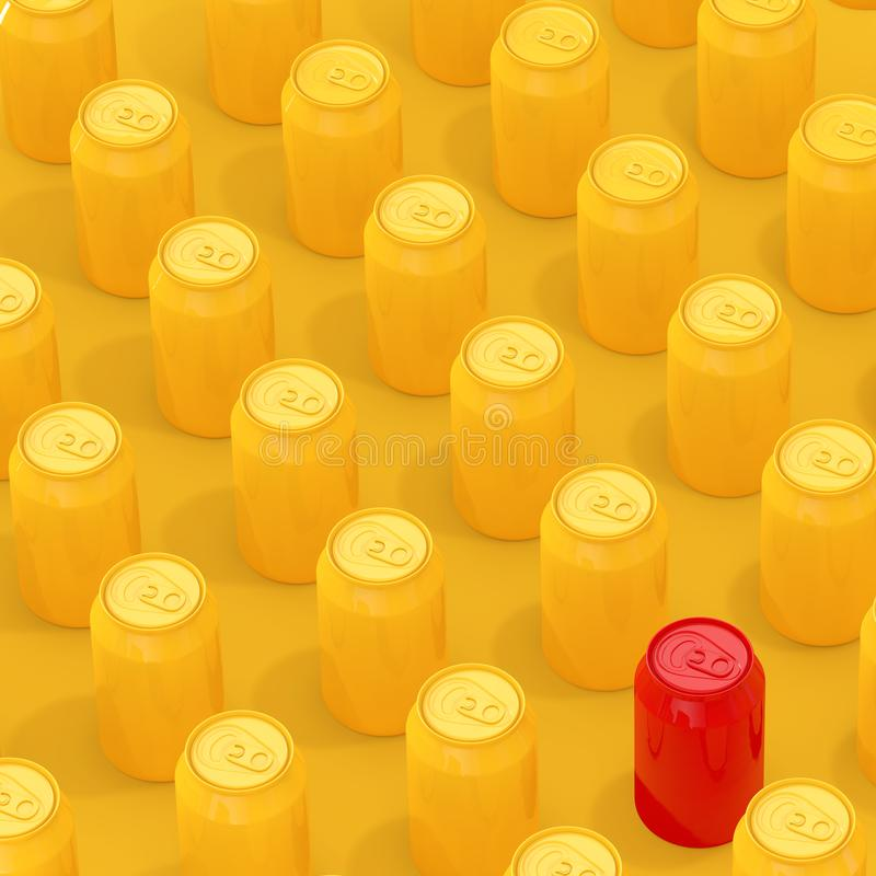 Rows of Yellow Isometric Blank Aluminum Drink Cans with One Red. 3d Rendering. Rows of Yellow Isometric Blank Aluminum Drink Cans with One Red on a yellow stock illustration