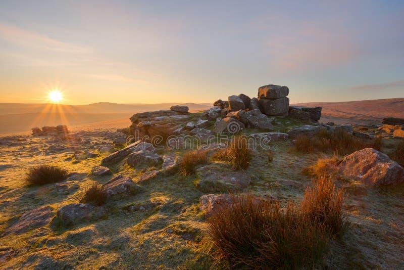 Rowtor Dartmoor. Sunrise on Rowtor Dartmoor national park Devon Uk stock photos