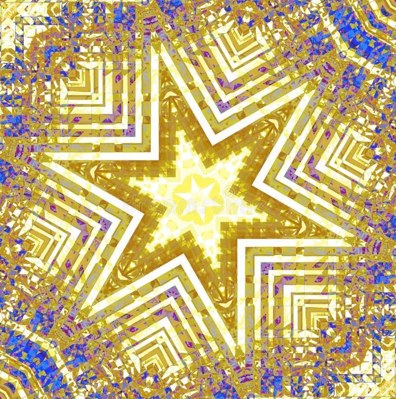Roxo azul branco amarelo do ornamento regular da estrela centrado ilustração stock