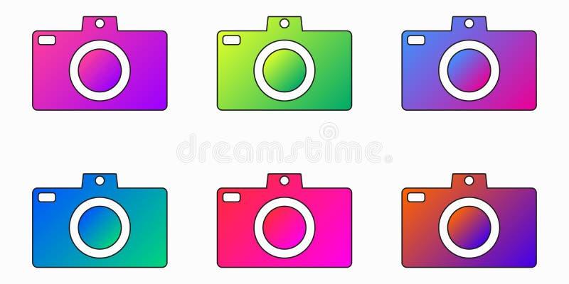 Roxo brilhante da câmera da foto, azul, rosa, ícone verde do app do inclinação - grupo do vetor ilustração royalty free