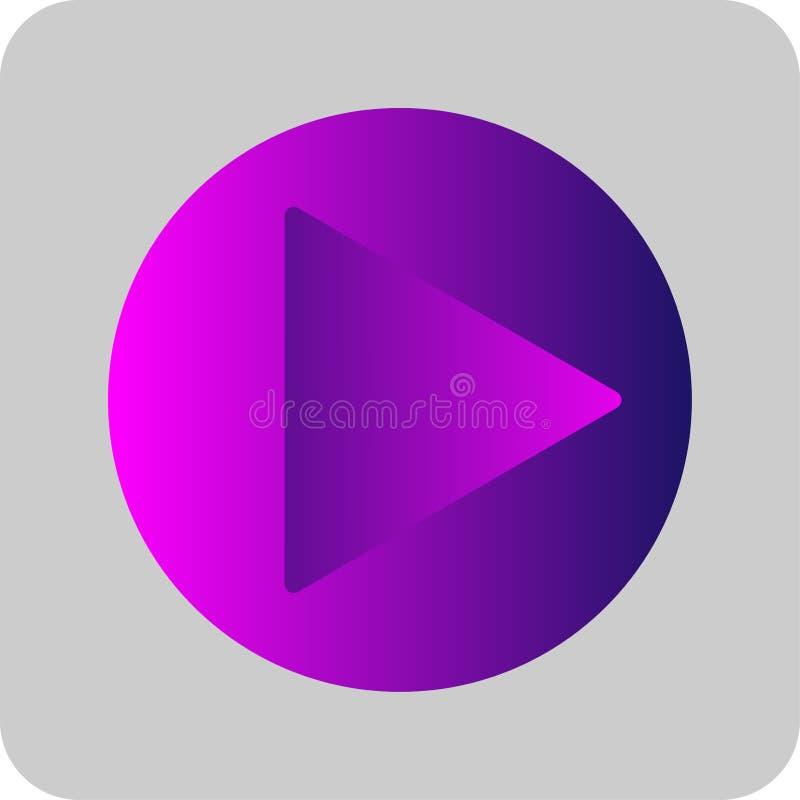 Roxo colorido do sinal do botão do jogo, rosa e linha fina ícone do inclinação azul Estilo liso no fundo cinzento transparente Ve ilustração royalty free