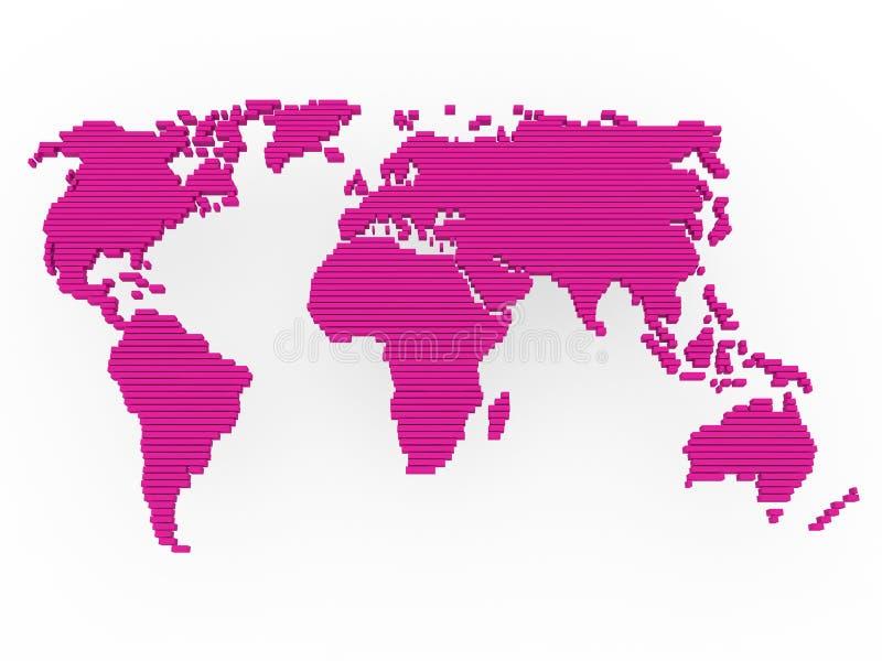 Roxo da cor-de-rosa do mapa de mundo ilustração do vetor