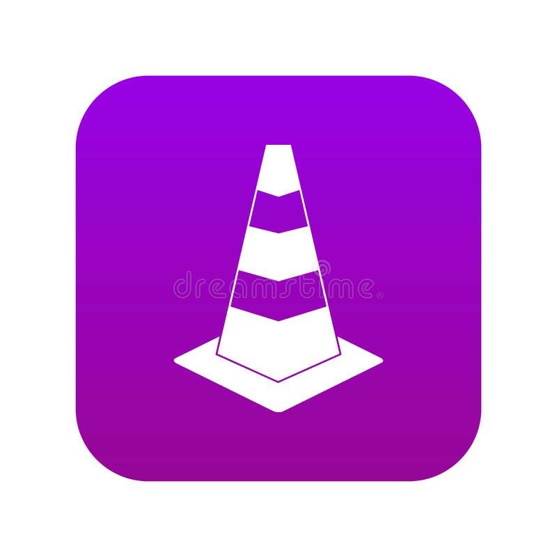Roxo digital do ícone do cone do tráfego ilustração do vetor