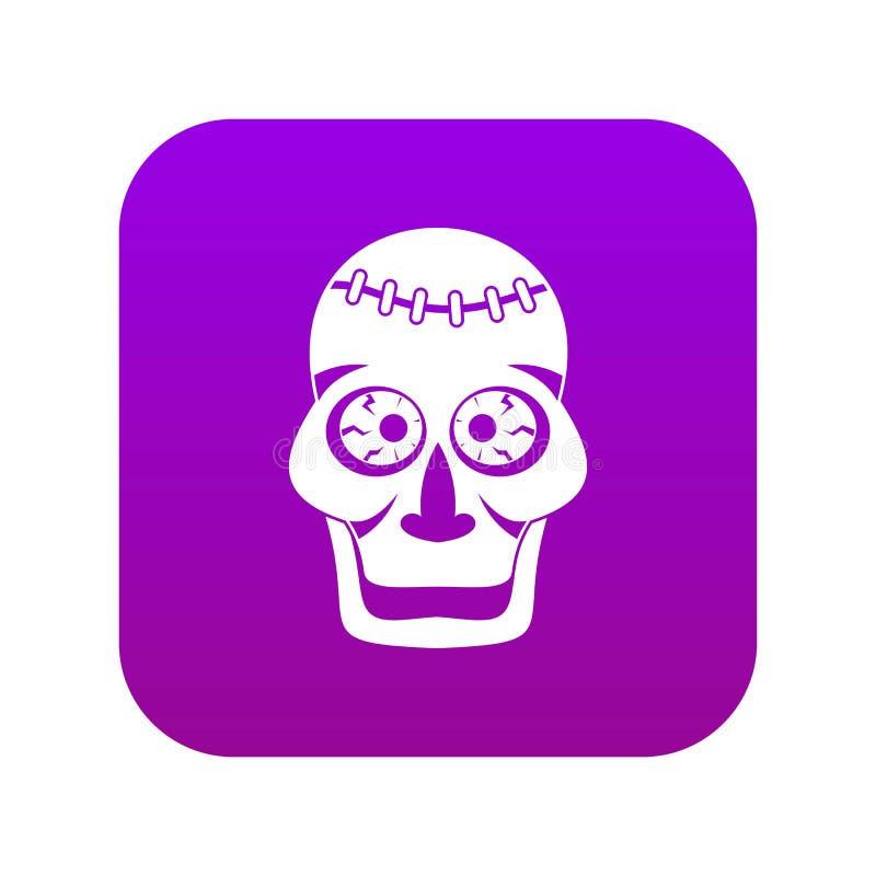 Roxo digital do ícone do crânio ilustração do vetor