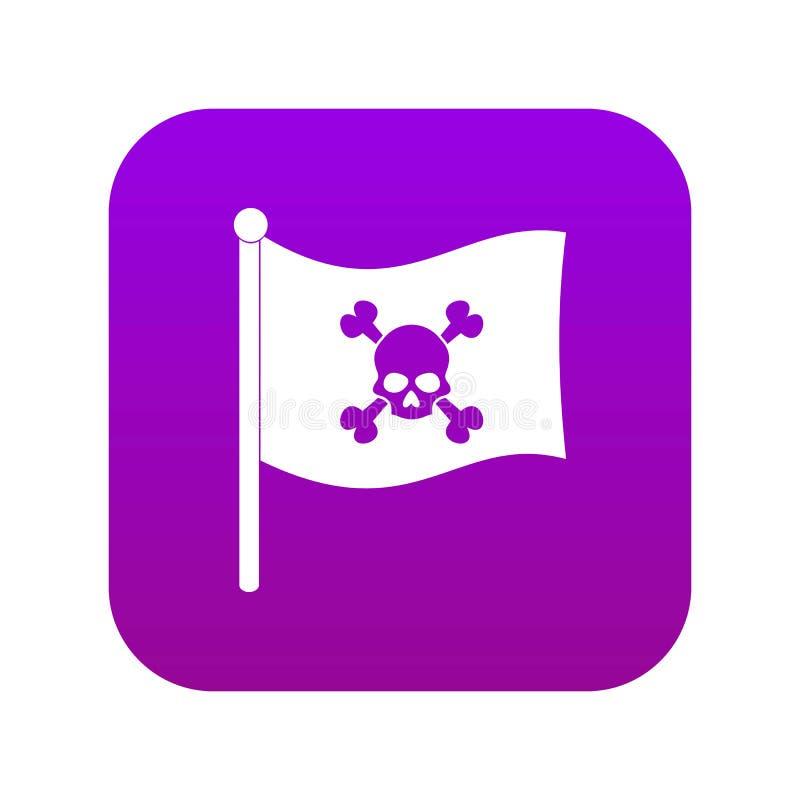 Roxo digital do ícone da bandeira de pirata ilustração do vetor