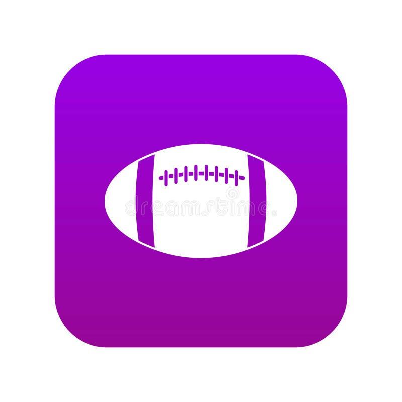 Roxo digital do ícone da bola de rugby ilustração stock