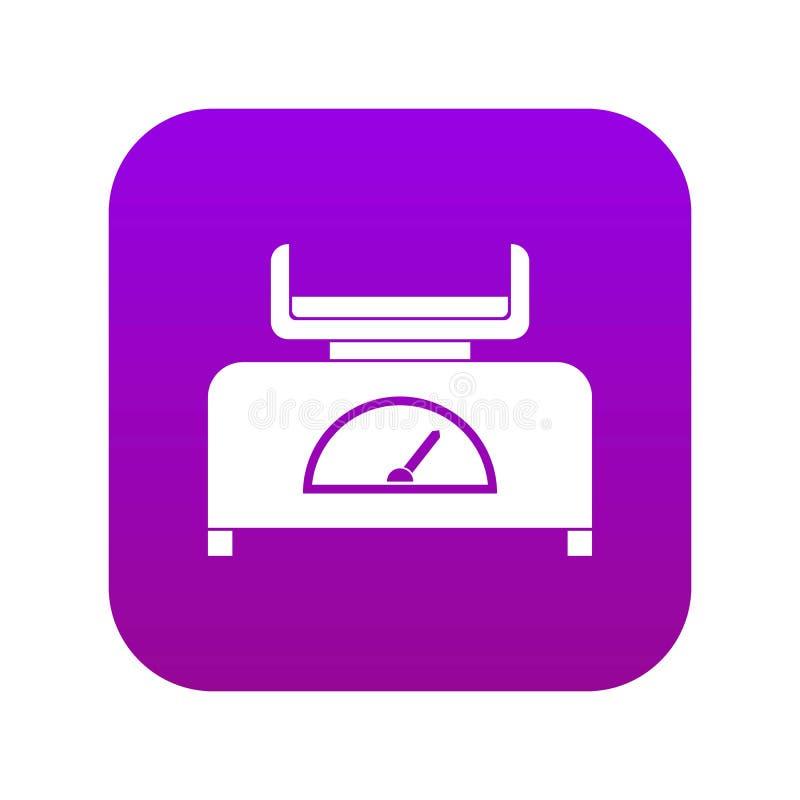 Roxo digital do ícone da escala do peso ilustração royalty free