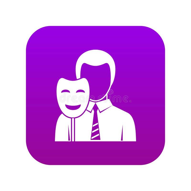 Roxo digital do ícone da máscara do sorriso da terra arrendada do homem de negócios ilustração stock
