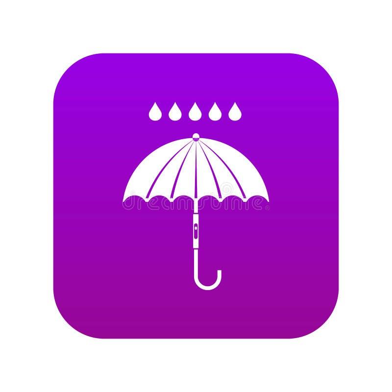 Roxo digital do ícone das gotas do guarda-chuva e da chuva ilustração stock