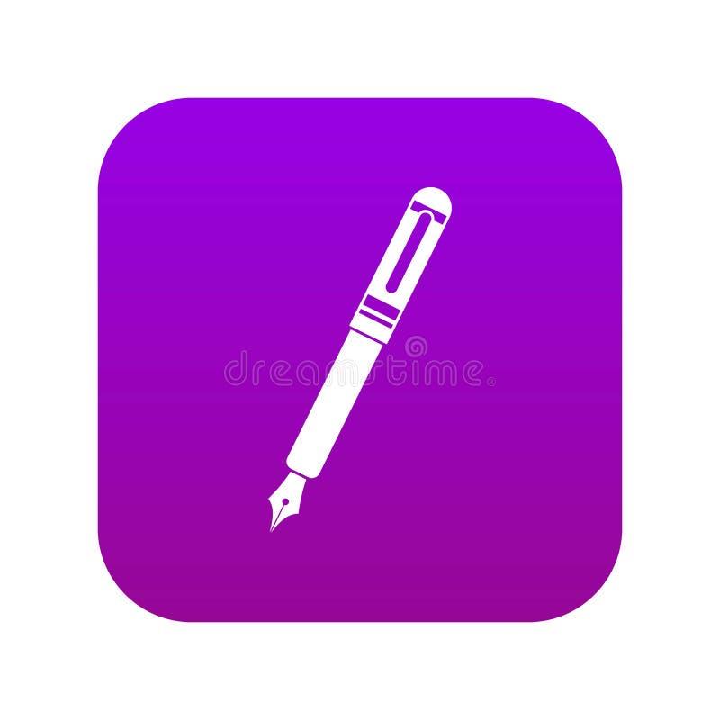Roxo digital do ícone preto da pena de fonte ilustração stock