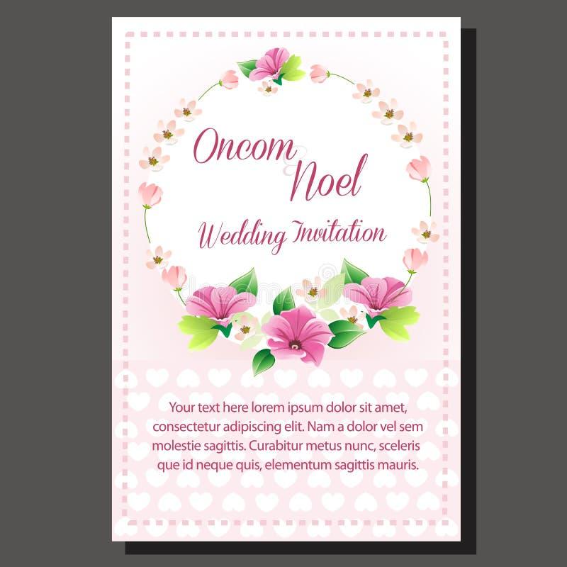 Roxo do convite do casamento ilustração royalty free