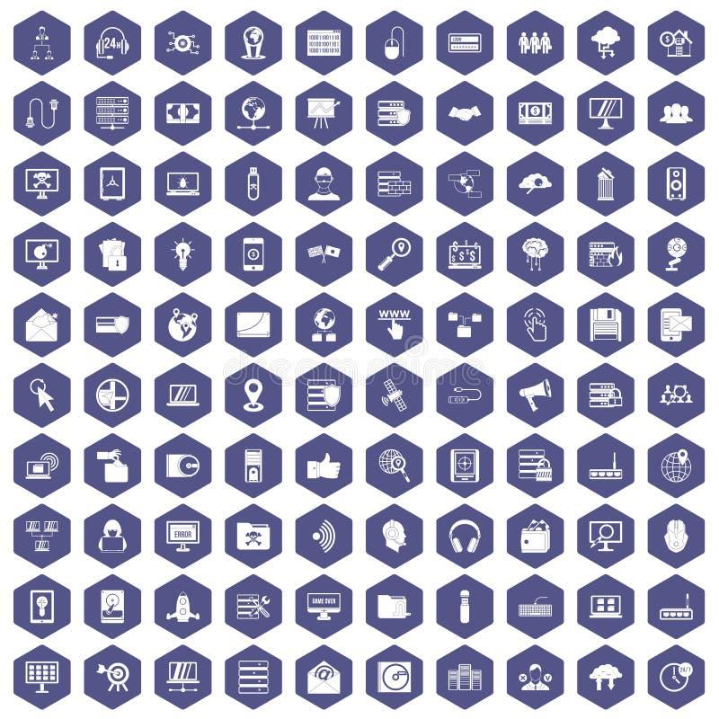 roxo do hexágono de 100 ícones da segurança do cyber ilustração stock