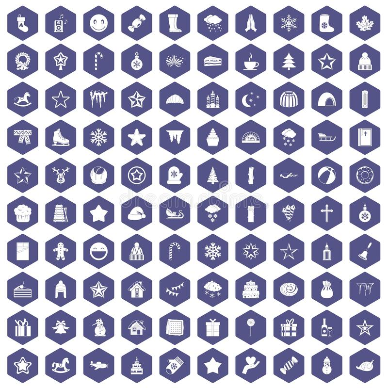 roxo do hexágono de 100 ícones do Natal ilustração do vetor