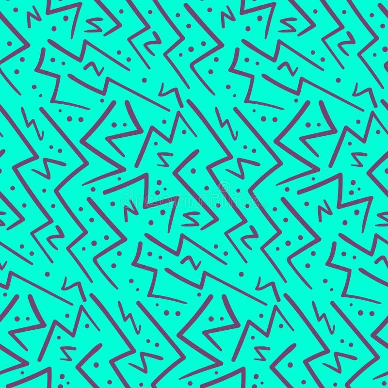 Roxo do sumário no teste padrão sem emenda do ziguezague azul ilustração royalty free